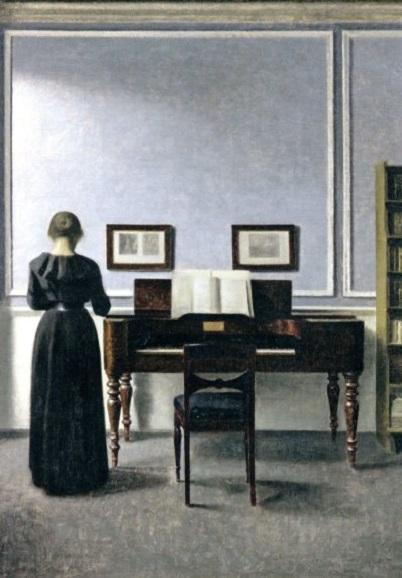 Vilhelm Hammershöi Kunstpostkarte Interieur mit junger Frau am Klavier